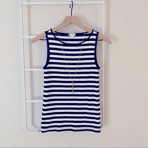 J CREW | navy and off white striped tank